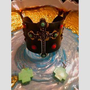 Metal~Cross Turquoise Braclet/Earrings